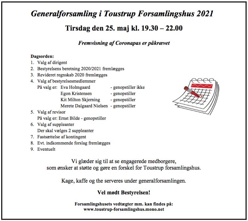 Generalforsamling i Toustrup Forsamlingshus 2021