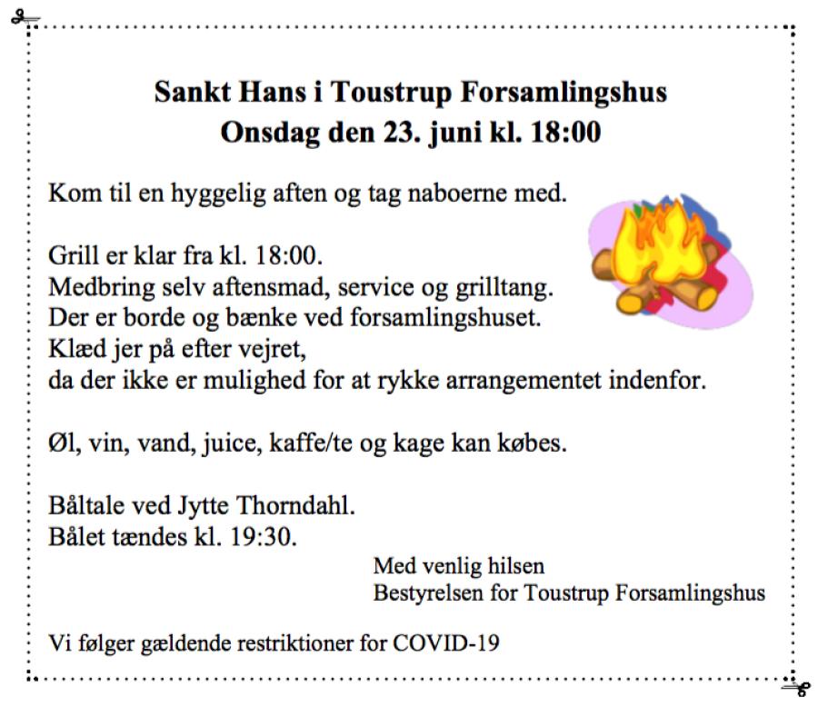 Sct. Hans-Aften i  Toustrup forsamlingshus