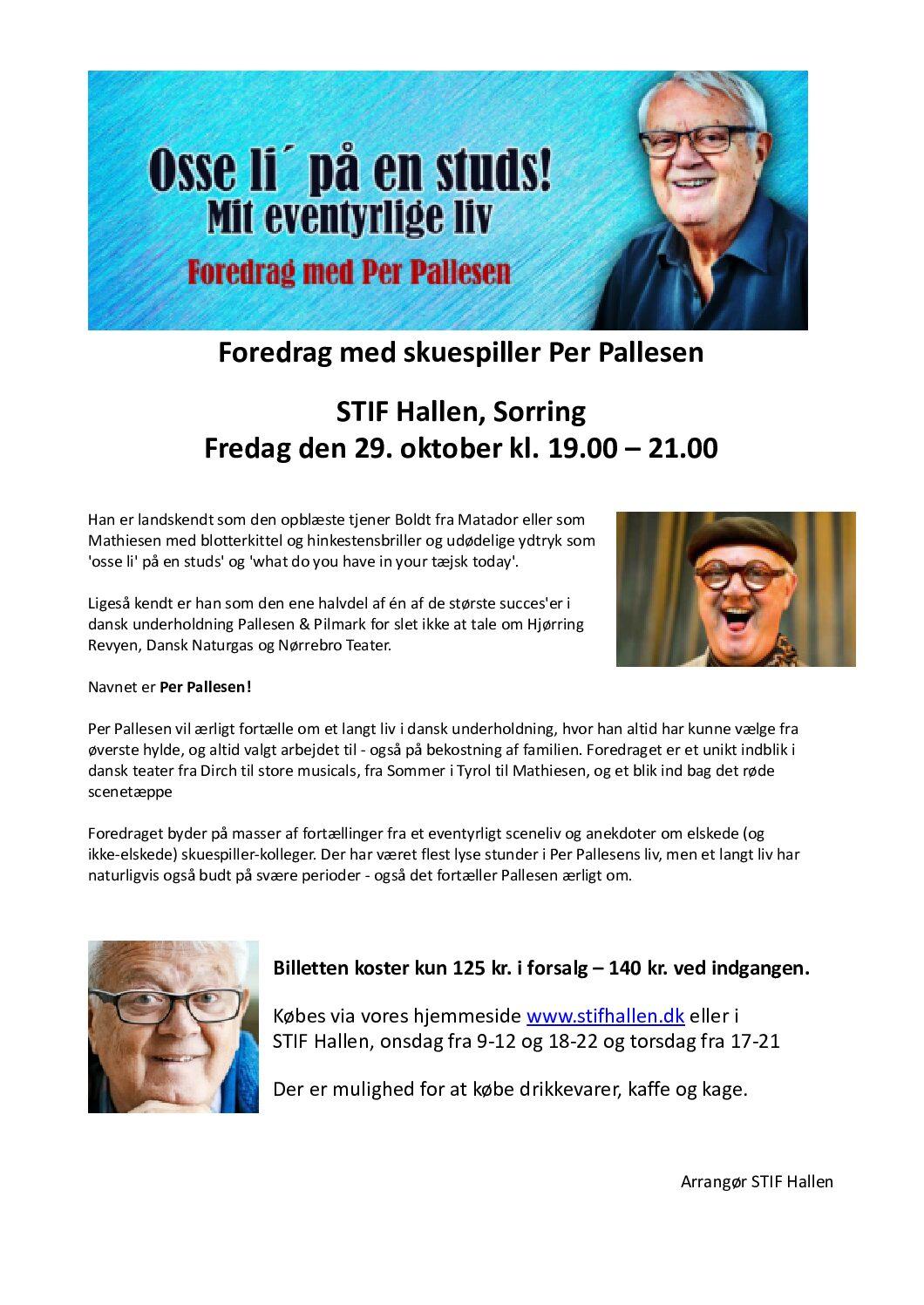 Foredrag med skuespiller Per Pallesen